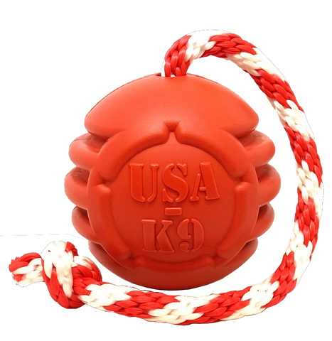 USA-K9 Stars and Stripes Ultra-durable Rubber Chew Toy- Red