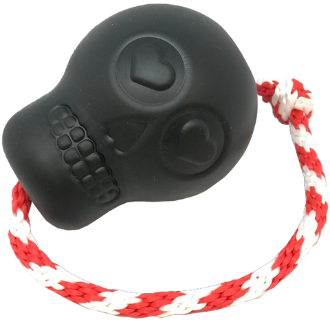 USA-K9 Magnum Skull Rubber Chew Toy Treat Dispenser- Black Magnum