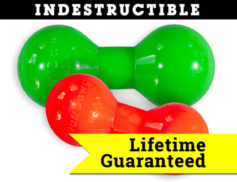 Big Dawg Indestructible Rubber Floating Barbell Chew Toy- Guaranteed for LIFE