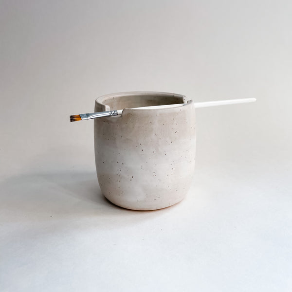 White Speckled Paintbrush Holder