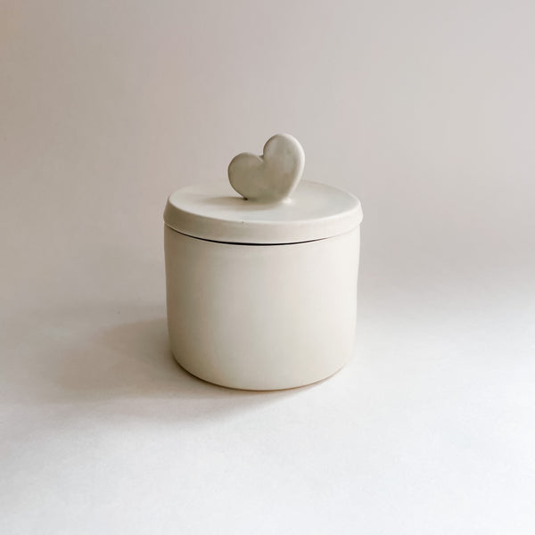 SECONDS: Matte White Heart Lidded Jar