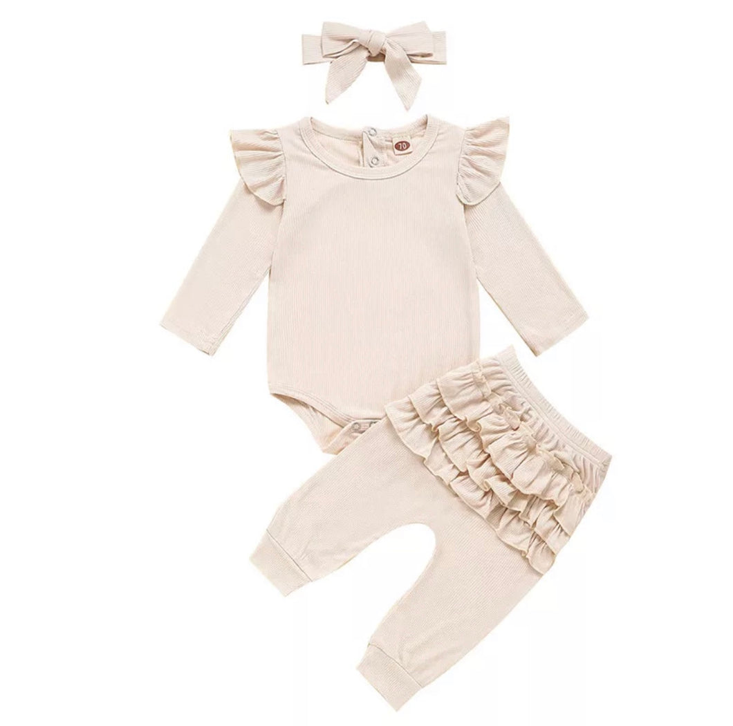 3 Piece Ruffle Set - Cream