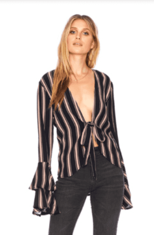 Beach Riot Dover Top in Black + Nude Stripe