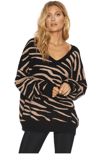Beach Riot Joey Sweater in Warm Taupe Zebra