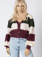 Load image into Gallery viewer, Elyse Wilde Colorblock Cardi in Wine