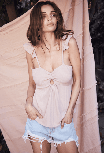 Elyse Wilde Keep Her Close Tank in Taupe