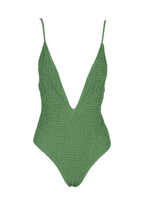 Load image into Gallery viewer, Elyse Wilde M Lush Shirred One Piece in Greenery