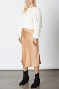 Elyse Wilde Satin Midi Skirt in Almond