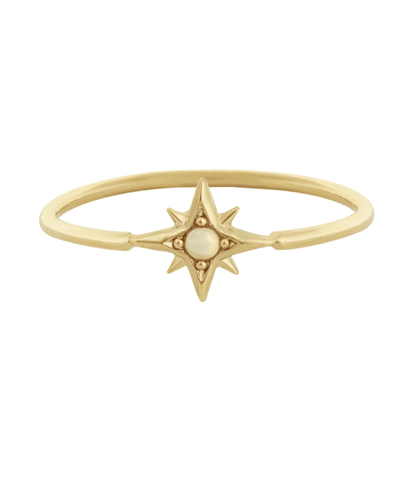 Five and Two Atlas Ring in Gold + Opal