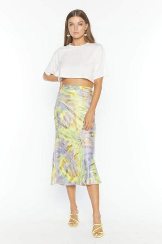 Flynn Skye Alice Skirt in Spiral Mist Satin