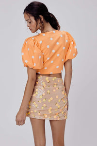 For Love & Lemons Auburn Dot Crop Top in Tangerine