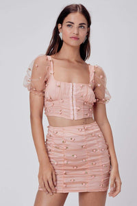 For Love & Lemons Jasmine Rosette Mini Skirt in Peach