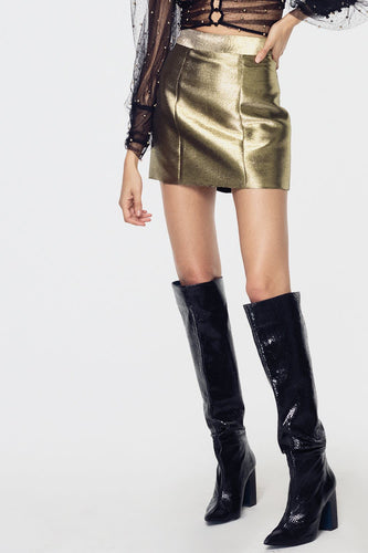 For Love & Lemons Juliette Brocade Mini Skirt in Gold