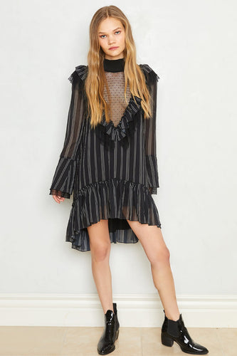 Hot As Hell Heavy Necking Dress in Pin Stripes Noir Combo