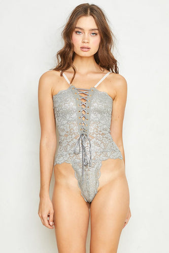 Hot As Hell Spinster Reversible Bodysuit in Silver Foil
