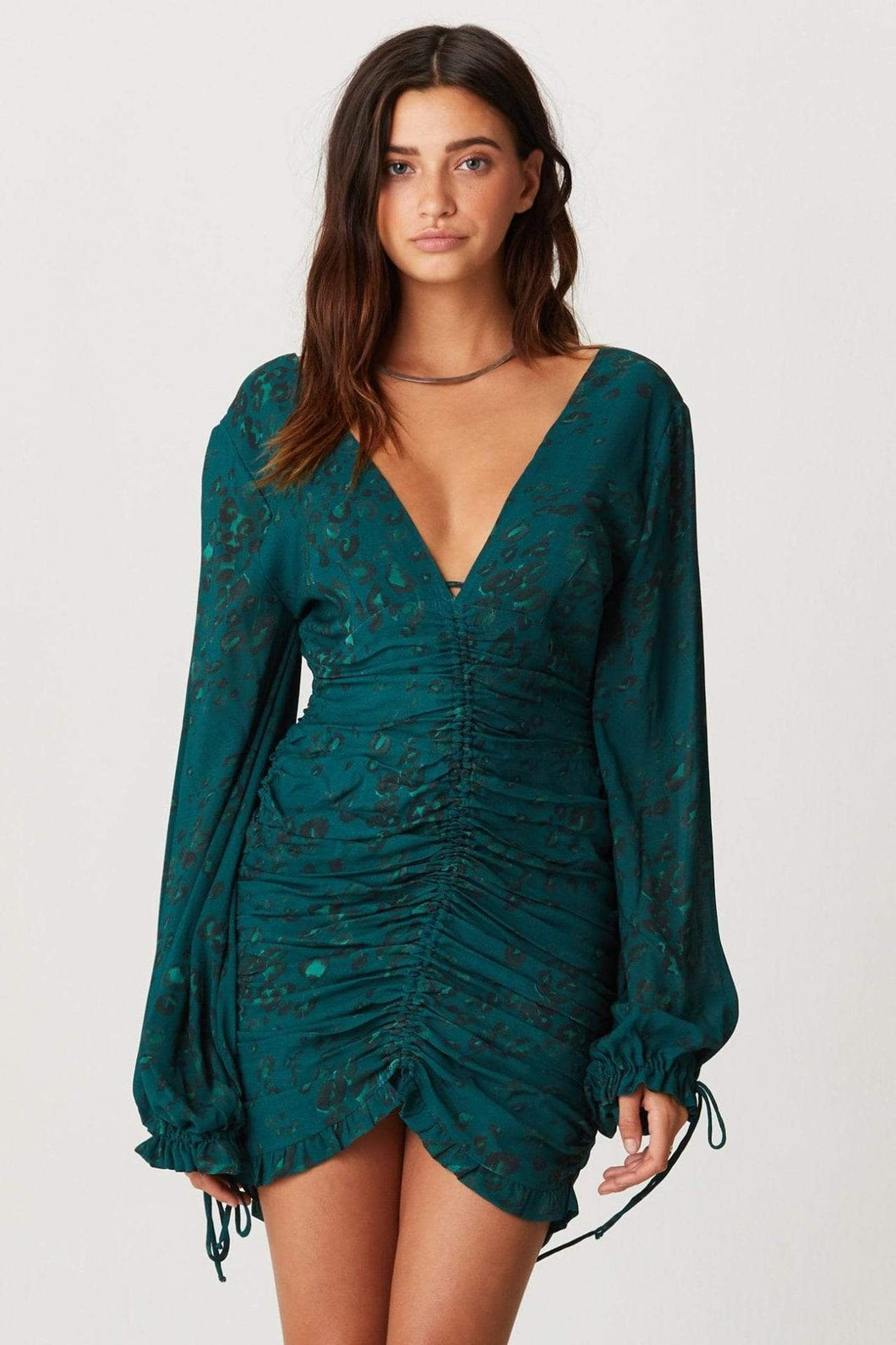 Jen's Pirate Booty Rainforest Mini Dress in Emerald Leopard