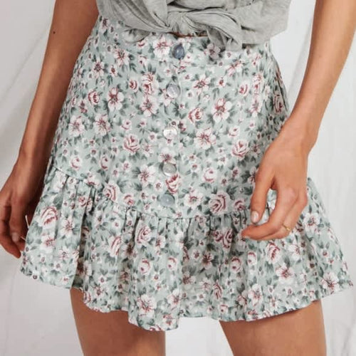 Kivari Harlow Floral Linen Mini Skirt in Sage