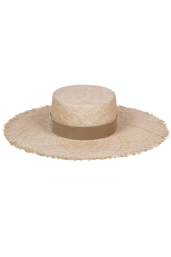 Lack of Color Aruba Fray Boater Hat in Natural