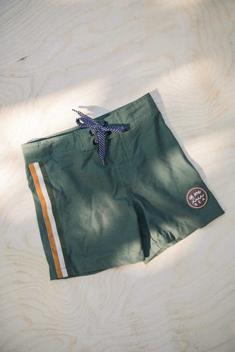 Of One Sea Kids Town Board Shorts in Green Seagrass