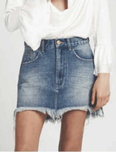 One Teaspoon Vanguard Mid Rise Relaxed Denim Mini Skirt in Pacifica