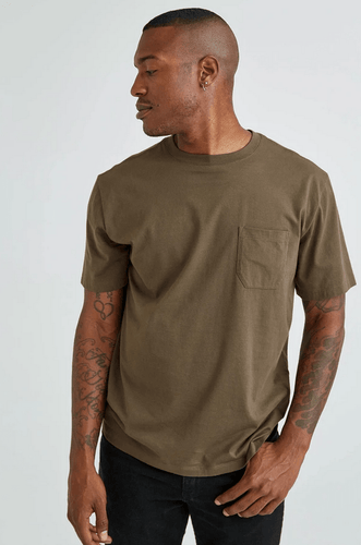 Richer Poorer Pocket Tee in Bitter Brown