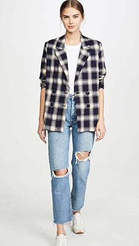 Rollas Check Slouch Blazer in Navy + Cream