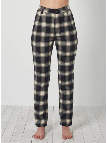 Rollas Horizon Check Pant in Navy + Cream