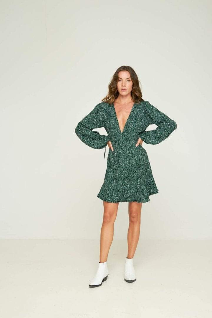 Rue Stiic Romeo Mini Dress in Emerald