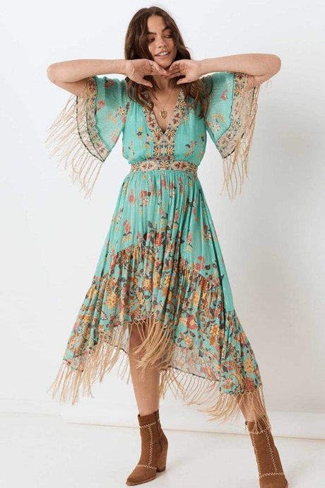 Spell & The Gypsy Collective Hendrix Tasseled Dress in Sky