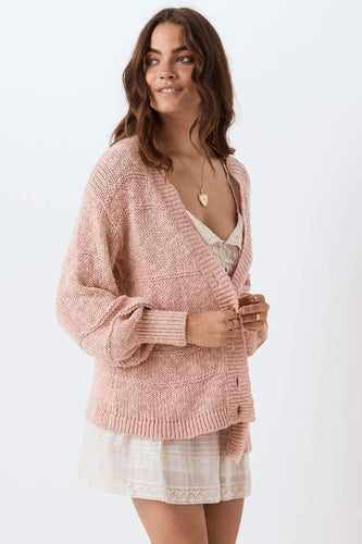 Spell & The Gypsy Collective Pearl on Pearl Knit Cardigan in Rose