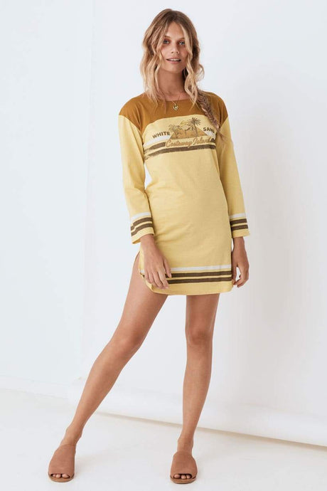 Spell & The Gypsy Collective White Sand Organic Tee Dress in Mustard