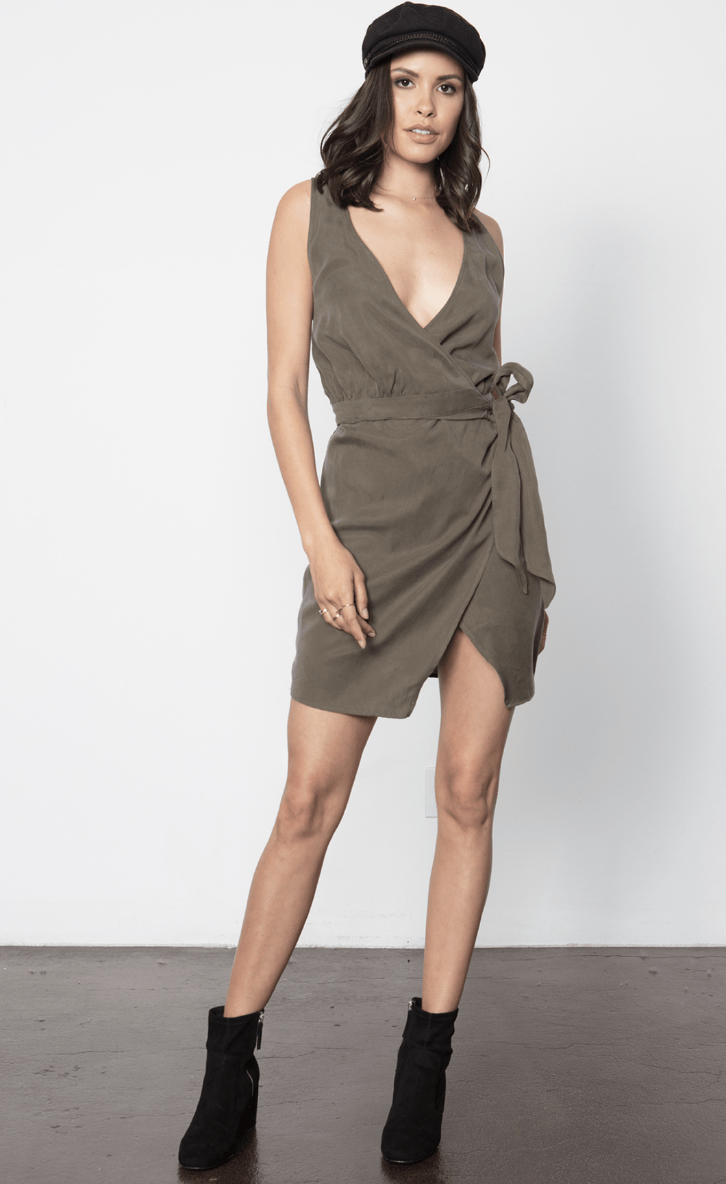 Stillwater Knotty Wrap Dress in Olive