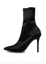 Load image into Gallery viewer, Tony Bianco Davis Bootie in Black Stretch Satin