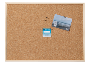 High-quality wooden-framed cork board made of natural cork (30 x 40 cm)