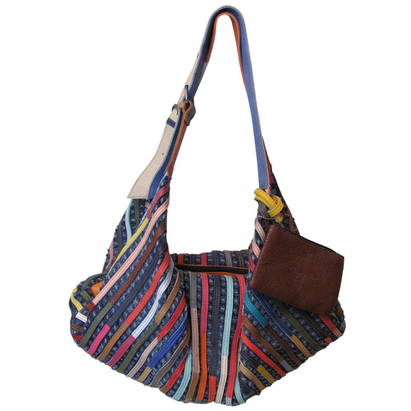 Amerileather Peranda Multicolor Denim and Leather Hobo-Hippie Handbag