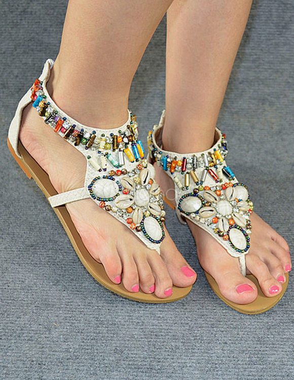 Bohemian PU Leather Beading Beach Sandals For Women