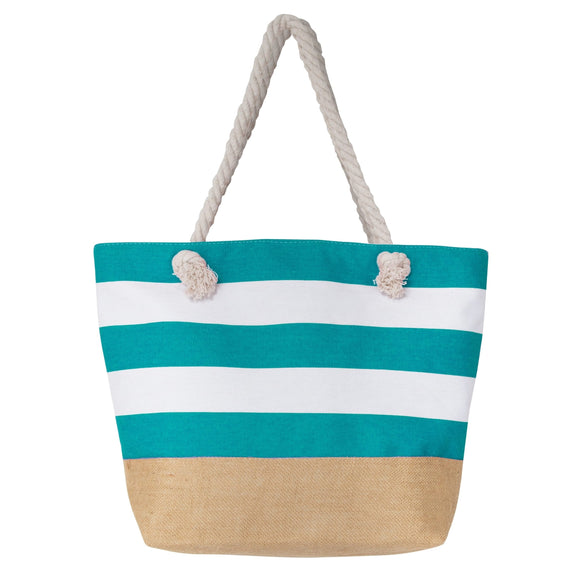 Large Canvas Water Resistant Beach Bag, Rope Handle Travel Tote Bag