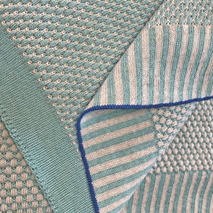 PLAID merino wool - mint blue / beige