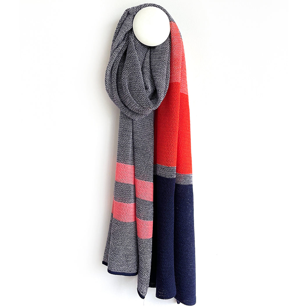 SCARF BENE LFG merino wool  - marine / orange