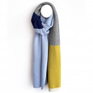 SCARF MIRA merino wool  LFG - yellow/blue