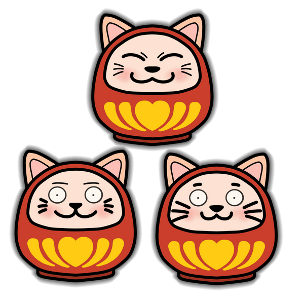 Daruma Cat Stickers 3pk