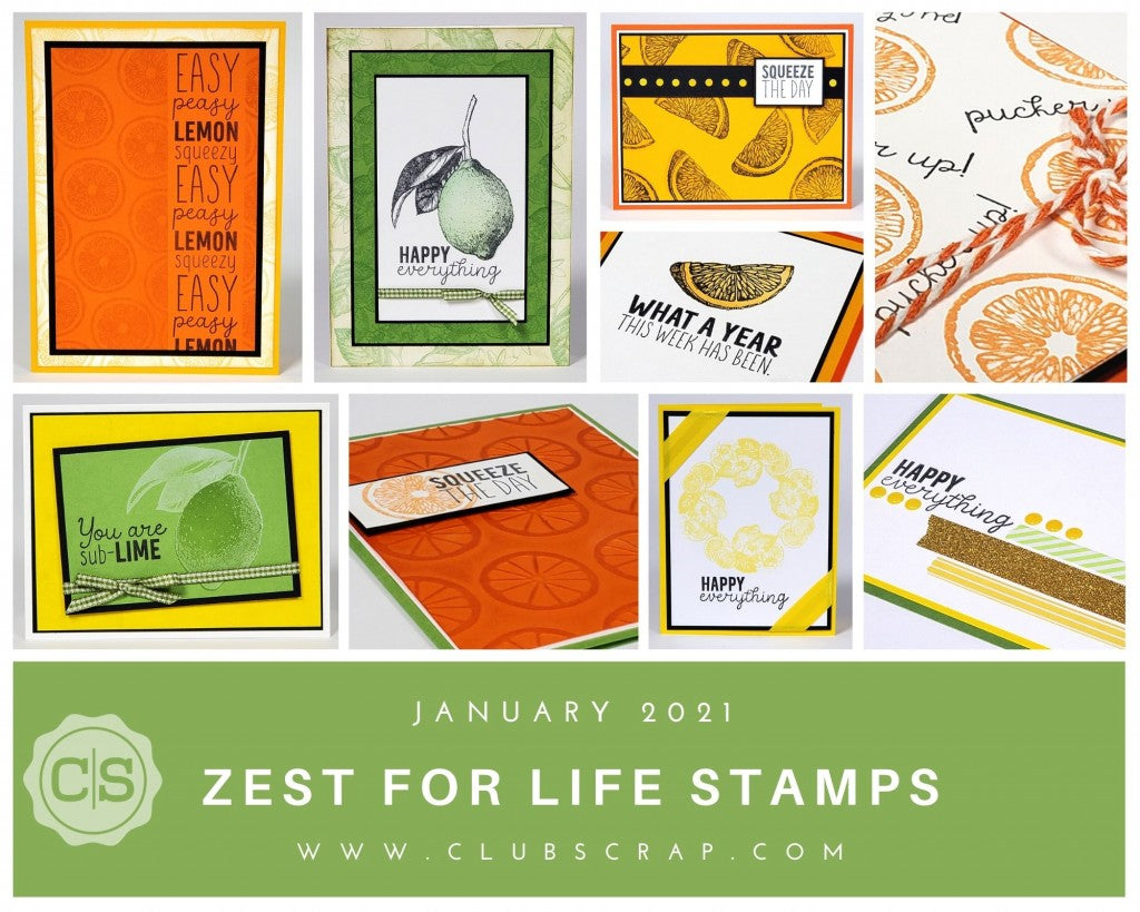 Zest for Life Stamps by Club Scrap #clubscrap #handmadecard #stampedcard