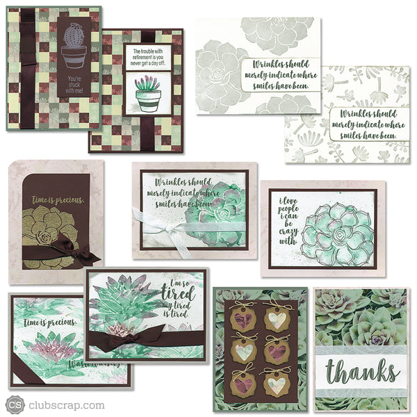 Succulents Club Stamp card kit