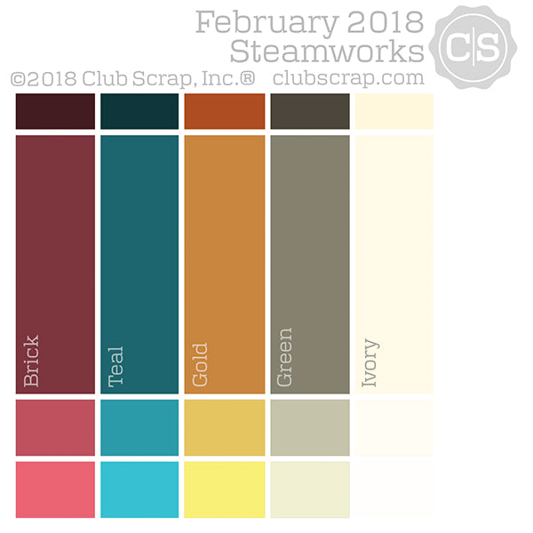 Steamworks Collection Color Chip - February 2018 #clubscrap #scrapbooking #cardmaking