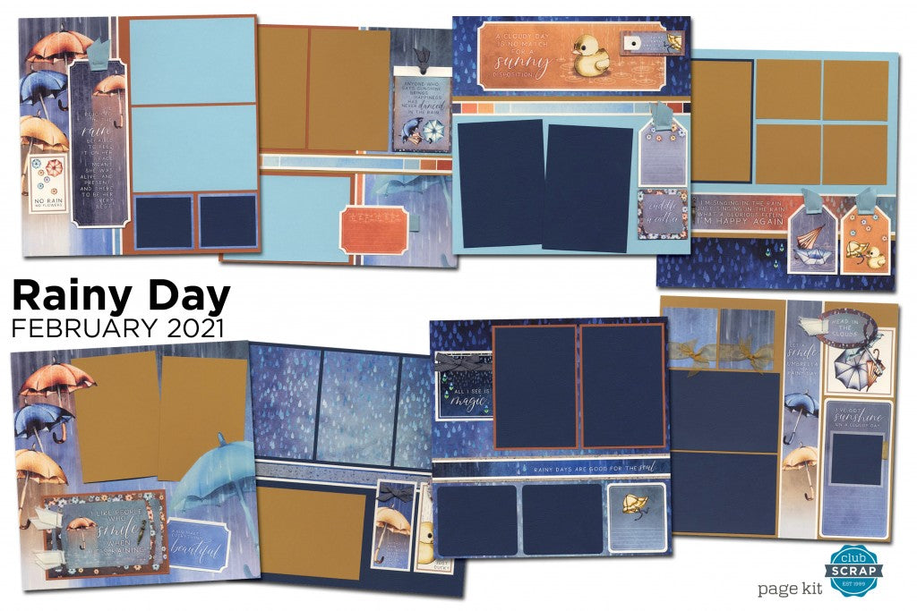 Rainy Day Page Kit by Club Scrap #clubscrap #efficientscrapbooking