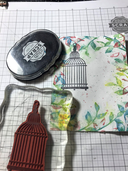 0419 Washy Watercolor Technique Challenge Card #clubscrap #distress #stipplemists #hyridinks #technique #rubberstamping #card