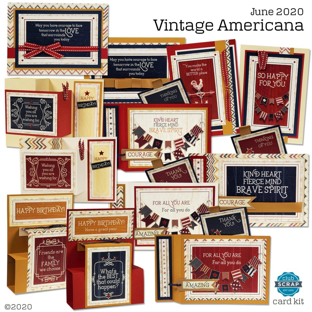 Vintage Americana Cards by Club Scrap #clubscrap #cardmaking #cardkit #efficientcardmaking