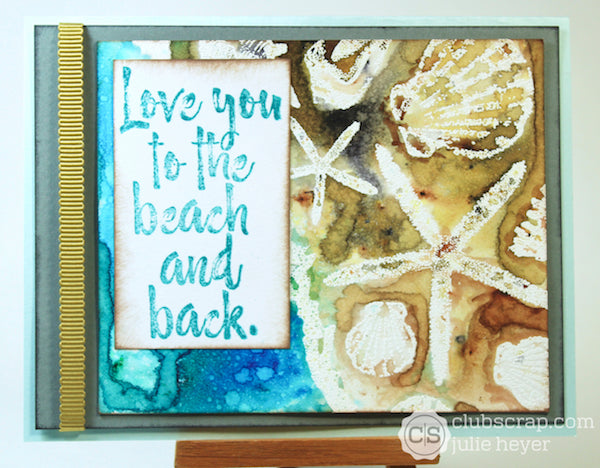 Beach Card with Sea Breeze Collection #clubscrap #colorburst #embossresist #seashells