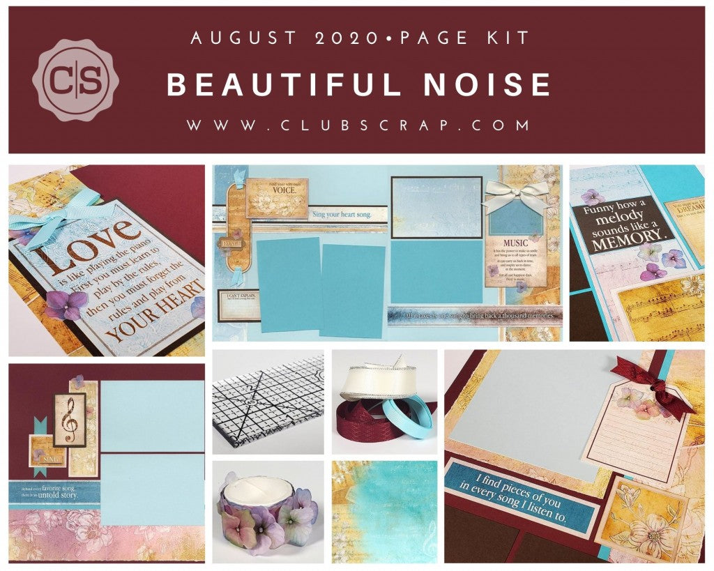 Beautiful Noise Pages - August 2020 collection by Club Scrap #clubscrap #pagekit #efficientscrapbooking