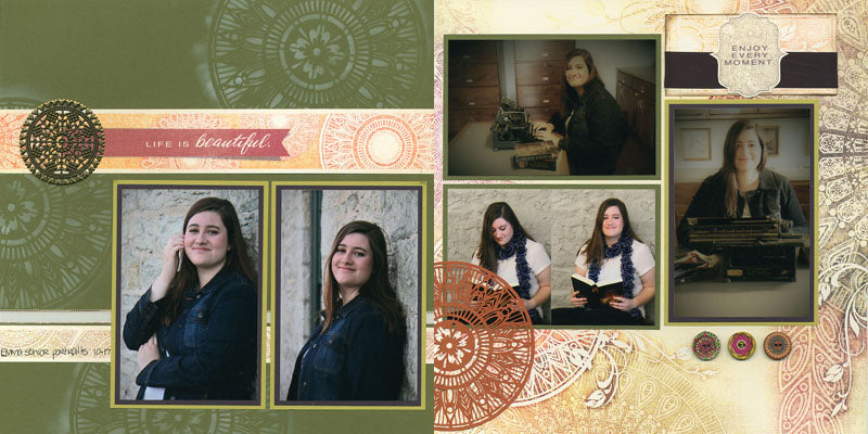 Tapestry pages featuring #clubscrap Medallion cut file #svg #scrapbooking